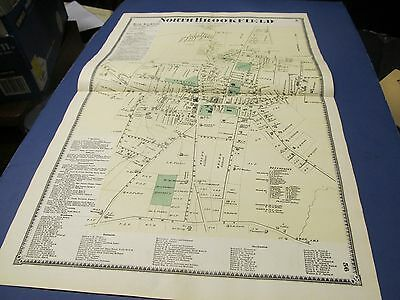 Antique 1870 map of North Brookfield center  Ma. by Beers.