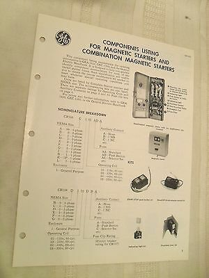 Vintage General Electric Brochure Components Listing for Magnetic Starters, 1966