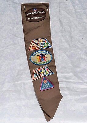 GIRL SCOUTS BROWNIE SASH 1988 Montachusett With Patches Badges GS Insignia tab