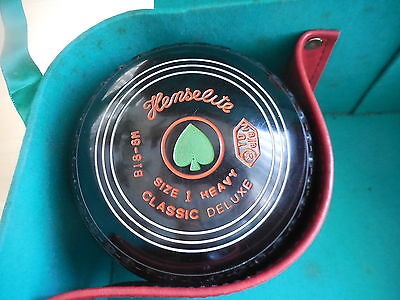 Henselite Size 1 Heavy Classic Deluxe Gripped Lawn Bowls 01 Spade Motif + Case