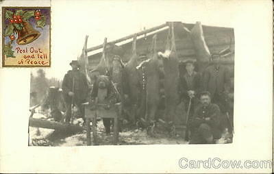 Hunting RPPC 1914 Five Men Posing With Deer and Bear Real Photo 1c stamp
