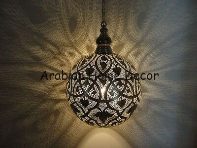 """Handcrafted Moroccan Silver Plated Brass 12"""" Pendant Hanging Lamp"""