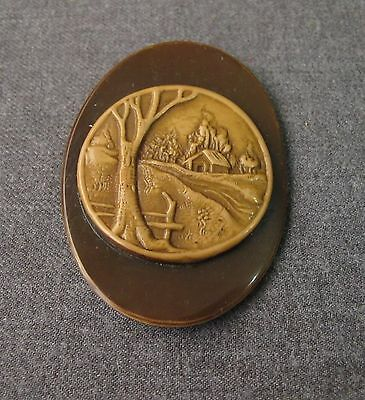 Antique Early 1900 Tridimentional Landscape Celluloid Applique Jewelry Making