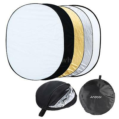"90*120CM/35""x47"" 5 IN 1 Photo Studio Multi Collapsible Light Oval Reflector C0Q2"