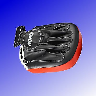 Handpratze Coaching Mitt anthrazit schwarz rot Kampfsport Training KWON®