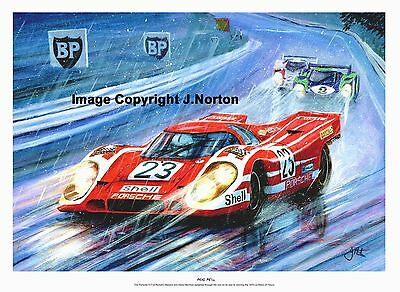 A3  Art Print- Richard Attwood Hans Hermann - Porsche 917 - Le Mans 70
