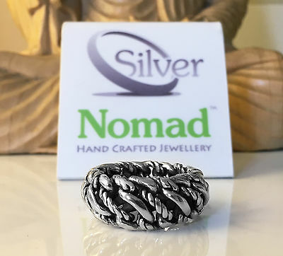 NEW 925 Sterling Mens Gents Solid Silver Nomad Link Curb Ring Band - Size Y UK