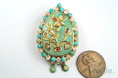 ANTIQUE INDIAN 22K GOLD TURQUOISE RUBY PEARL BROOCH c1840