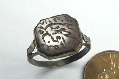 UNUSUAL ANTIQUE PERSIAN / ISLAMIC SILVER GILT AGATE INTAGLIO SIGNET RING c1800's