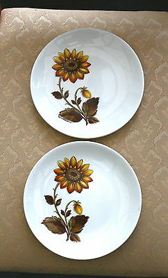 "2 X Lovely Vintage Sunflower *johnson Brothers* 7"" Inch Plates"
