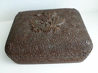 Vintage Intricately Carved Wooden Box  with Dragon