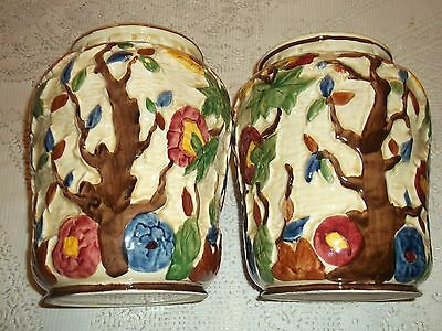 Indian Tree Handpainted  Pair Of Vases, By Tony Wood .staffordshire England.