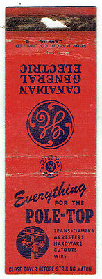 Canadian General Electric Matchbook Cover - Everything for the Top of the Pole