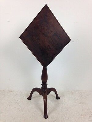 Interesting Antique Northern New England Diamond Shaped Candlestand Circa 1800