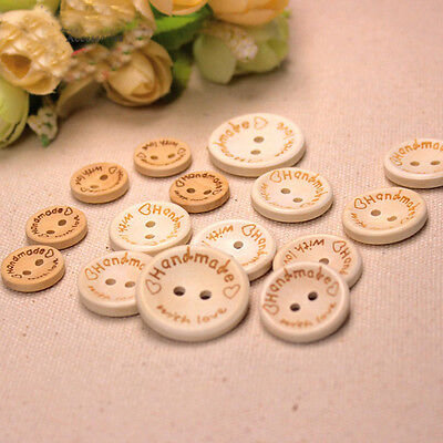 Hand Made with Love Sewing Wood Button 100pcs 15mm Round Decorative Craft Button