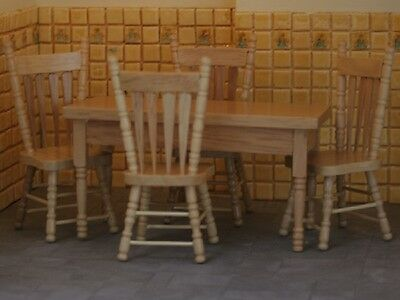1.12 Scale -  Best Quality Oak Table And Four Chairs  Dolls House Miniatures
