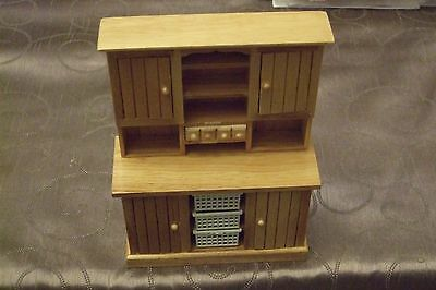 1.12 Scale -  Pine  Kitchen Dresser With Opening Doors Dolls House Miniatures