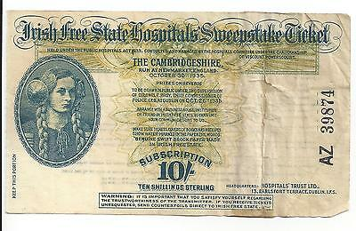 Vintage Irish Free State Sweepstake Ticket-October 20,1935-Poor Condition
