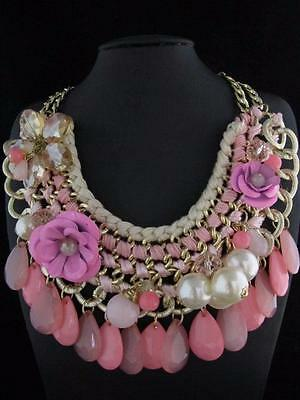 Fashion Gold Tone Pink Bead Flower Pendant Necklace Chain Jewelry PN844