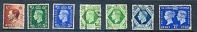 1936on GB E8+G6 7 stamps inc ½d & 2½d UM, the rest used