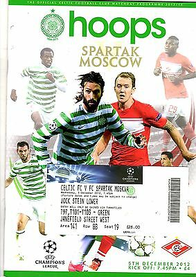 Celtic v Spartak Moscow Champions League 5th December 2012 + Ticket