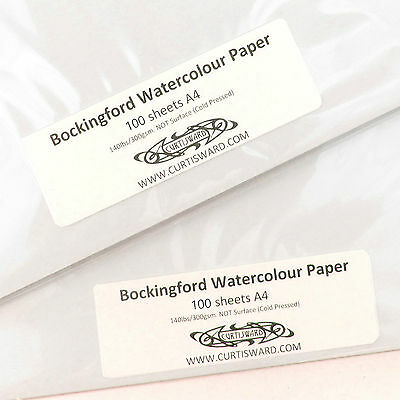 Bockingford Artists WaterColour Paper A4 Pack 100 Sheets NOT 300g Curtisward Pk