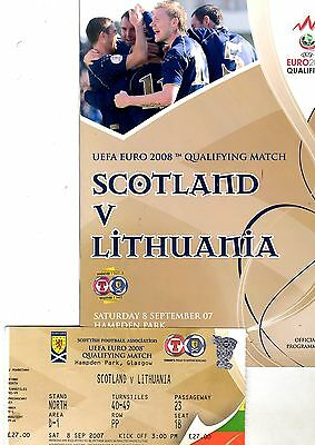 Scotland v Lithuania European Championships Qualifier 8th Sept 2007 + Ticket