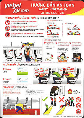 1 x VIETJET AIR.COM A320-200 SAFETY CARD *JULY 2012*