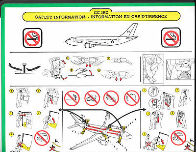 1 x CANADIAN AIR FORCE CC-150 SAFETY CARD *NOV 92*