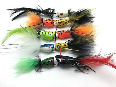 Fishing Bass Pike Flies 10 PACK POPPERS Size 4 Saltwater Trout Perch  UK