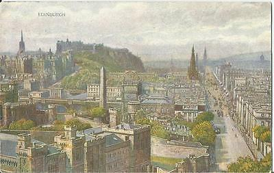 Edinburgh Princes Street Painted Postcard by WR&S Posted 1904