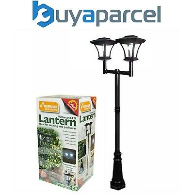 Kingfisher Solar Twin Head Victorian Lamp Post Light Lantern Bollard Garden