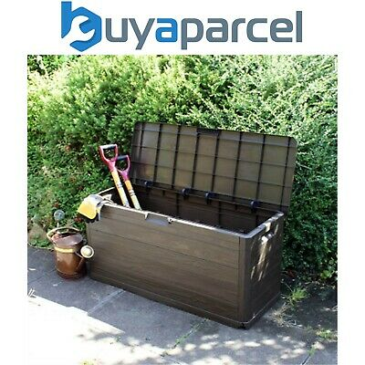 Kingfisher Large Wooden Effect Garden Storage Tool Chest Cabinet Box Lockable