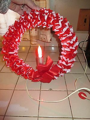 """Vintage 12"""" Christmas Red Plastic Wreath with Silver Candle Light"""