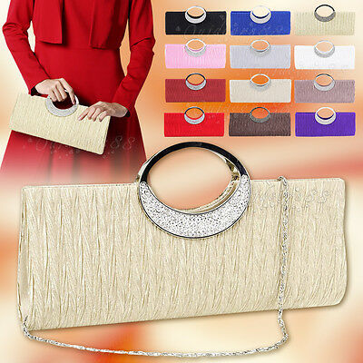 Women Crystal Ring Handle Clutch Ladies Party Prom Evening Handbag Purse Bag