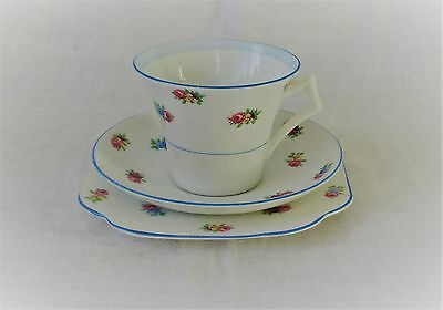 Art Deco Tea Cup, Saucer  And Plate By Colclough, England - Pink Rose Decoration