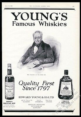 1928 Young's Mountain Dew & Directors Scotch Whisky vintage print ad