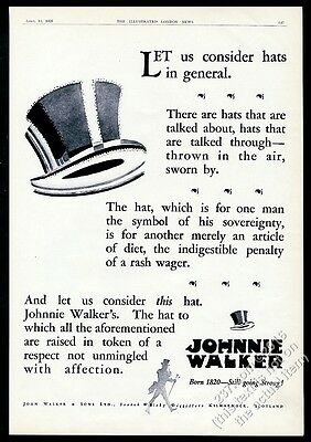 1928 Johnnie Walker Scotch Whisky character top hat art vintage print ad