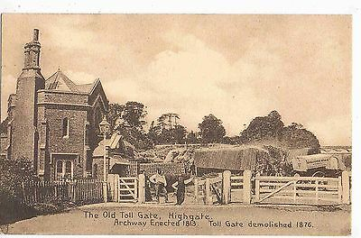 LONDON - PPC - 19th CENTURY VIEW OF THE OLD TOLL GATE, HIGHGATE, N.LONDON, c1910