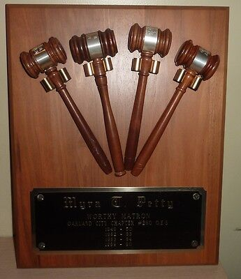 OES, Order of the Eastern Star Worthy Matron Award Plaque with 4 Gavels