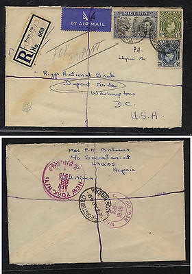 Nigeria   registered cover to  US   1949        AT0629