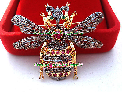 6.13cts ROSE CUT DIAMOND GEMSTONE ANTIQUE WEDDING 925 STERLING SILVER BEE BROOCH