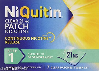 NiQuitin Quit Smoking Clear 24 Hour Patches Step 1 21mg 7 Patches