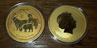 2015 24K Gold Gilded Australian Year of the Goat Silver 1 Troy Oz  Dollar Coin