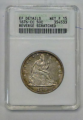 {BJSTAMPS}  1876-CC Seated Liberty Half DOLLAR ANACS EF Details  Rev Scratched