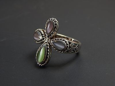 Vintage  925 Sterling Silver Multi Color Stone Ring Size 8