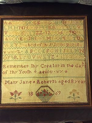 Victorian Embroidered Needlework Sampler Picture 1869 Mary Jane Roberts Aged 8