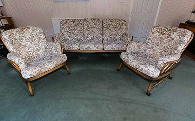 Ercol Vintage Jubilee 3 Seat Settee set and 2 matching Chairs