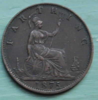 Farthing Victoria Bun Head 1875 Large Date Young Bust Scarce