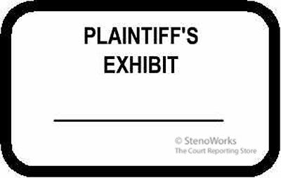 PLAINTIFF'S EXHIBIT Labels Stickers White  492 per pack.